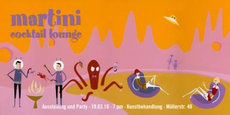 Martini Cocktail Lounge in der Kunstbehandlung