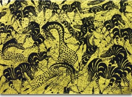 Bamos - Tingatinga-Malerie in der Galerie Kunstbehandlung Ausstellungsraum in München