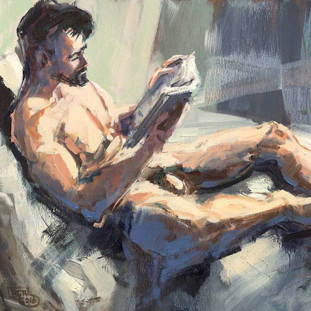 Robert C. Rore - Lesender Mann im Bett