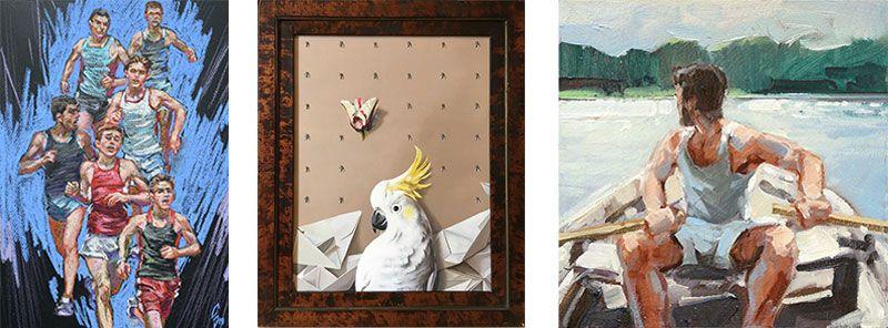 Grafik mit drei Kunstwerken von Sergey Sovkov, Astrid Köhler und Robert C. Rore