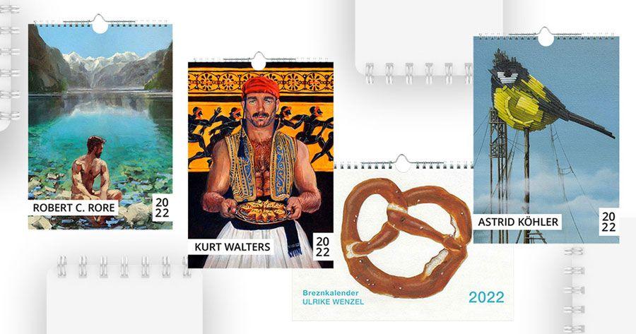 Collage: Grafik mit den Titelbildern der Kalender der Kunstbehandlung für das Jahr 2022